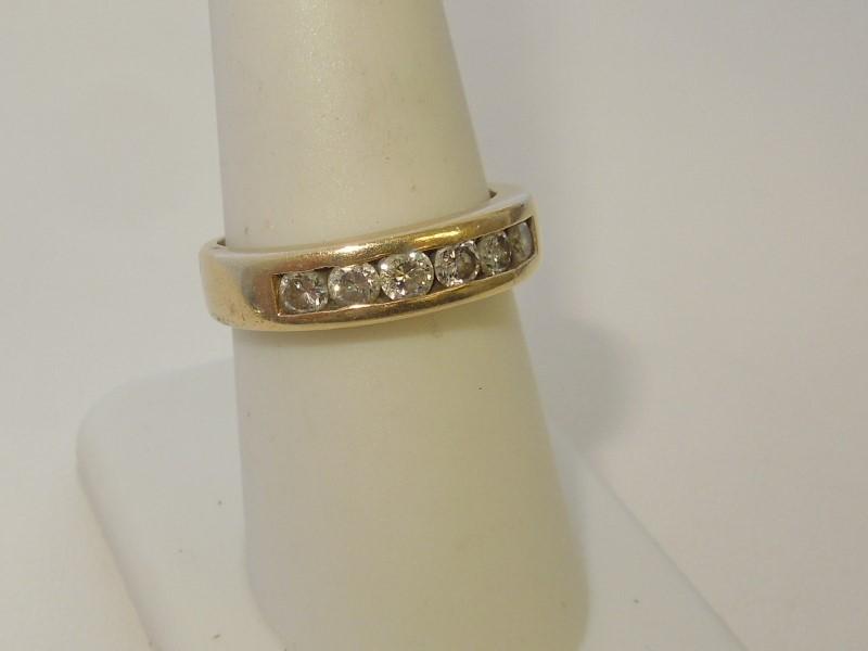 Gent's Gold-Diamond Wedding Band 6 Diamonds .42 Carat T.W. 14K Yellow Gold 5.9g