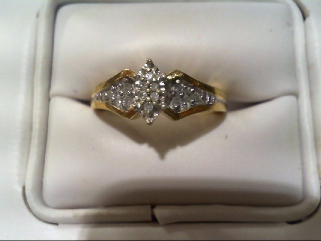 Lady's Silver-Diamond Ring 14 Diamonds .14 Carat T.W. 925 Silver 4.4g