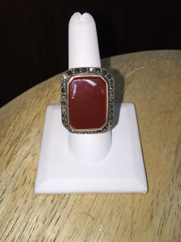 Brown Stone Lady's Silver & Stone Ring 925 Silver 15.8g