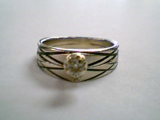 Lady's Diamond Wedding Set 2 Diamonds .12 Carat T.W. 14K White Gold 5.4g Size:6