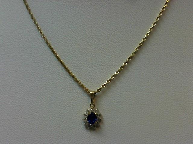 "20"" Purple Stone Diamond & Stone Necklace 11 Diamonds .11 Carat T.W."