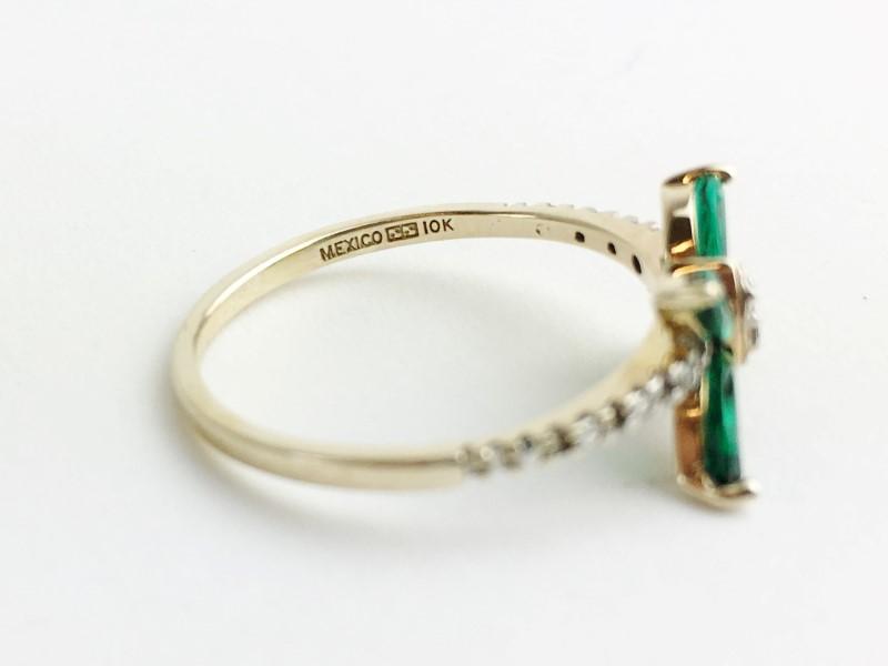 14KT YG Synthetic Emerald & Diamond Butteryfly Ring Sz 7