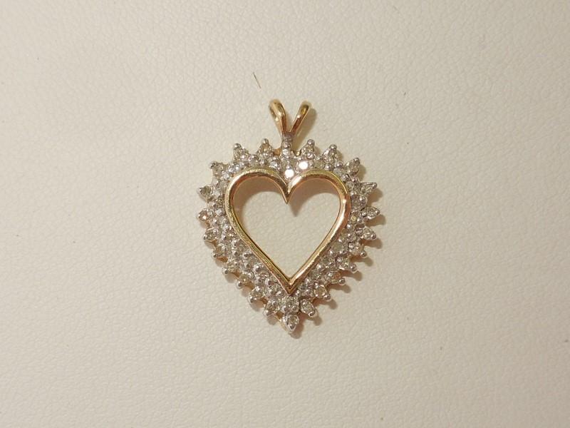 Gold-Multi-Diamond Pendant 47 Diamonds .47 Carat T.W. 10K Yellow Gold 1.9g