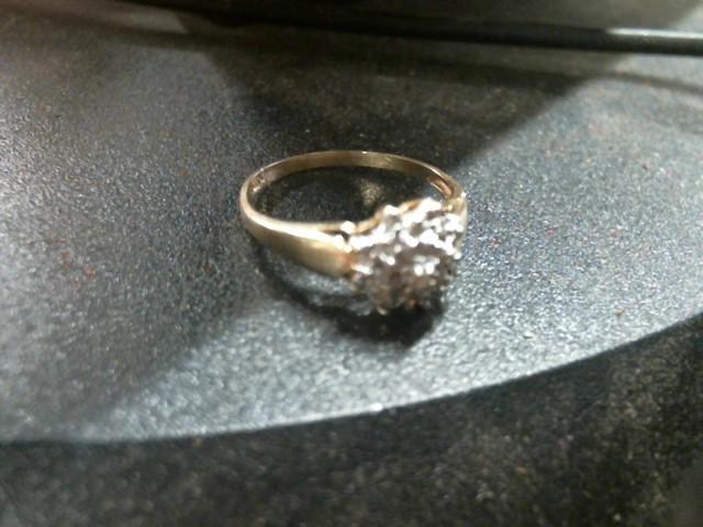 Lady's Diamond Cluster Ring 26 Diamonds .130 Carat T.W. 10K Yellow Gold 1.8g