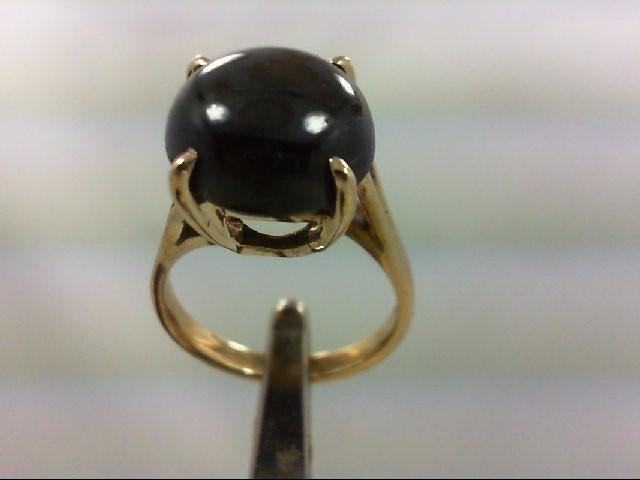 Black Star Sapphire Lady's Stone Ring 14K Yellow Gold 2.6g