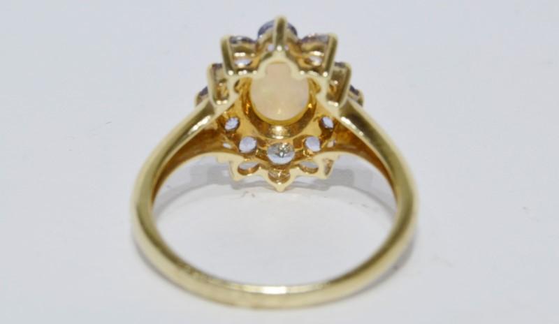 14K Yellow Gold Oval Natural White Opal & Tanzanite Halo Ring Size 7