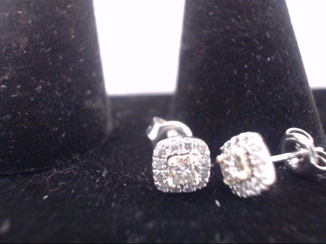 Gold-Diamond Earrings 2 Diamonds .32 Carat T.W. 10K 2 Tone Gold 1g