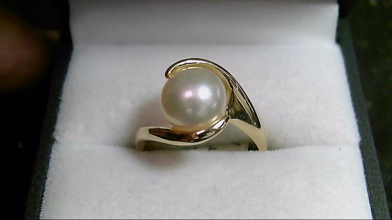 8mm White Pearl 14K Yellow Gold Ring