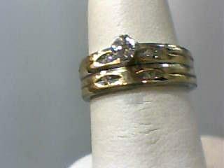 Lady's Diamond Wedding Set 5 Diamonds .15 Carat T.W. 14K White Gold 3.2dwt