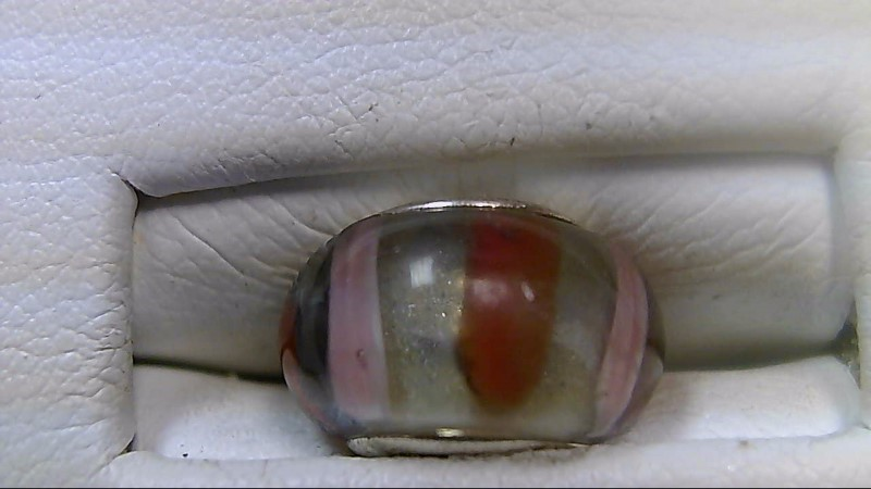 Clear Red Pink Stripe Glass Bead 925 Silver