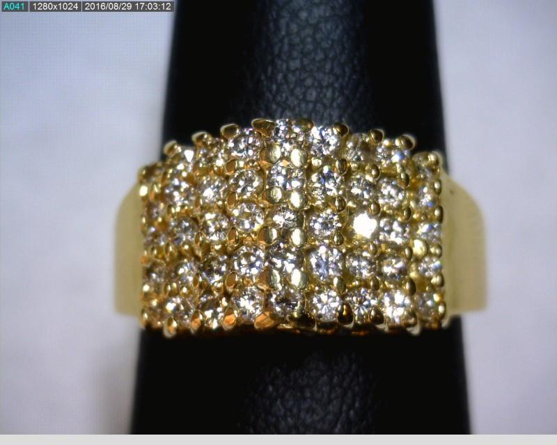 Lady's Diamond Cluster Ring 45 Diamonds .90 Carat T.W. 14K Yellow Gold 4.65dwt