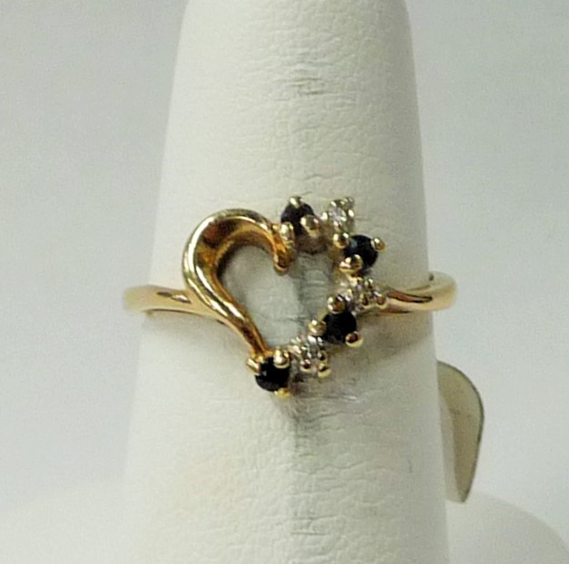 Synthetic Sapphire Lady's Stone & Diamond Ring 3 Diamonds .09 Carat T.W.