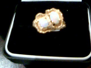 Synthetic Opal Lady's Stone Ring 14K Yellow Gold 5.1g