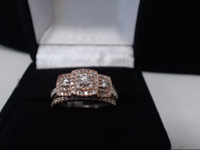 Lady's Diamond Wedding Set 125 Diamonds 1.39 Carat T.W. 10K 2 Tone Gold 5.3g