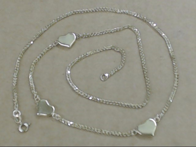 "ESTATE 18"" HEART CHARM CHAIN NECKLACE REAL 10K YELLOW GOLD 3.7g LOVE"