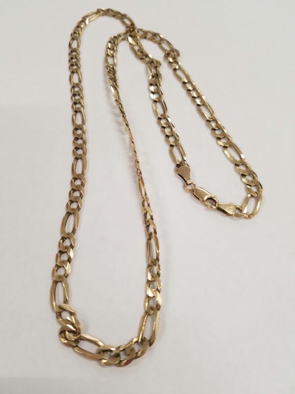 """24"""" Gold Figaro Chain 10K Yellow Gold 20.9g"""