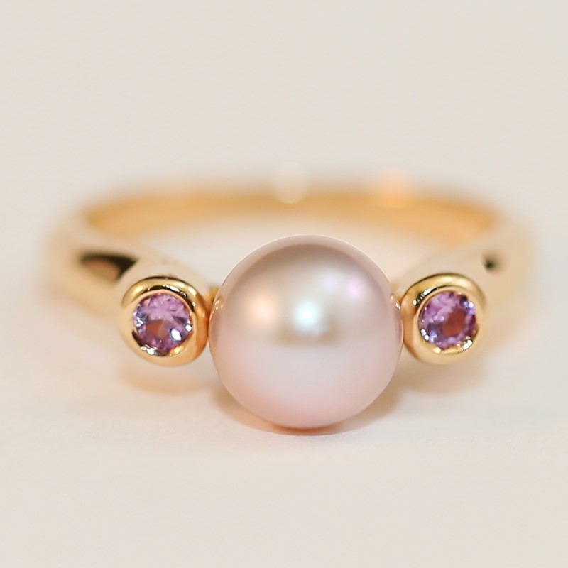 14K Rose Gold Grey Pearl and Pink Sapphire Ring Size 7.25 Fall
