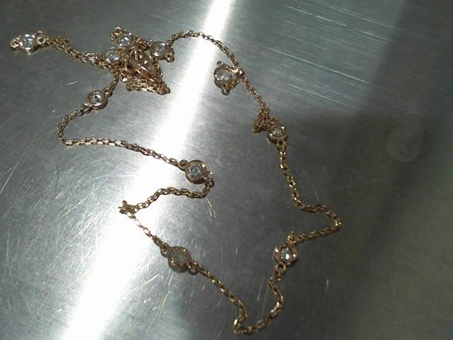 "18"" Diamond Necklace 10 Diamonds 1.00 Carat T.W. 14K Rose Gold 3.5g"