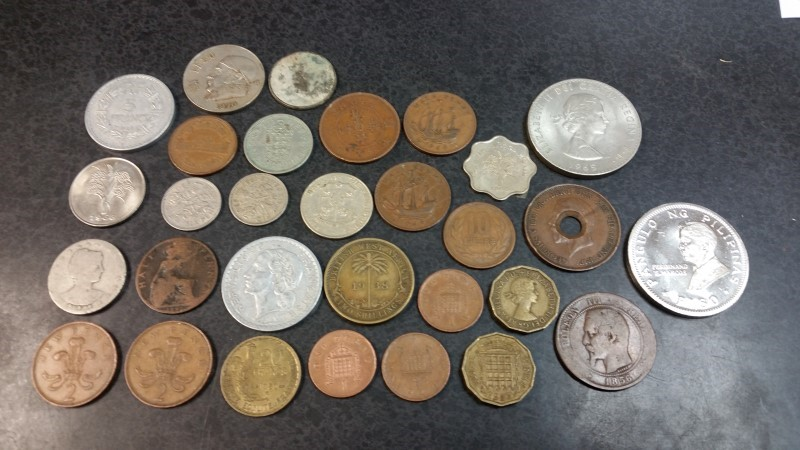 30pc Foreign Coin Lot - Francs / Peso / Pence / Centavos / Penny / Dong
