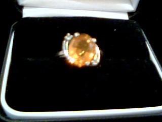 Yellow Stone Lady's Stone Ring 10K Yellow Gold 2.8g Size:6