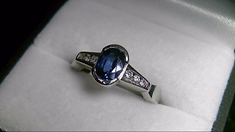 Oval Sapphire Lady's Stone & Diamond 14K White Gold Ring