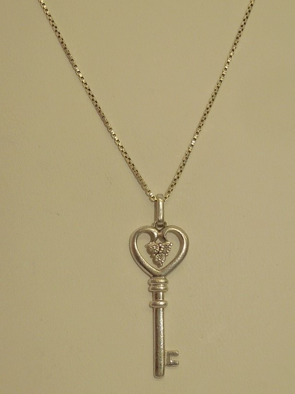 Diamond Necklace 3 Diamonds .015 Carat T.W. 925 Silver 5.3g
