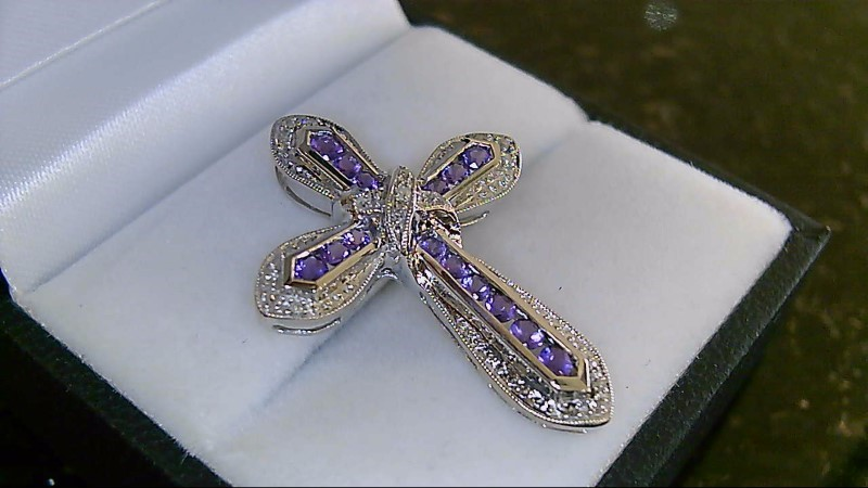 Lady's 14k white gold amethyst and round diamond cross pendant