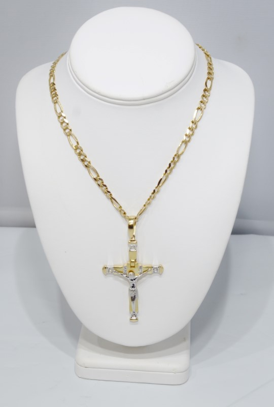"10K Two Tone Gold HEAVY 28"" 6mm Figaro Chain 14K Cross Crucifix Pendant Necklace"