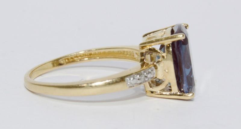 10K Yellow Gold Cushion Cut Synthetic Alexandrite & Diamond Statement Ring sz 6