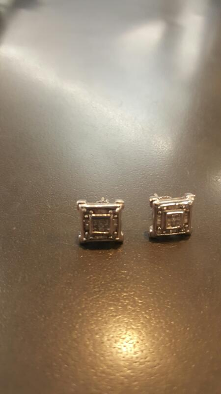 Gold-Diamond Earrings 42 Diamonds .60 Carat T.W. 14K White Gold 3.5g