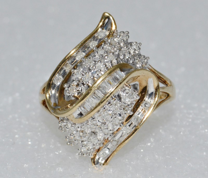 14K Yellow Gold Cathedral Set Wave Diamond Cluster Ring Size 7.5