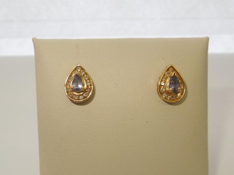 Synthetic Tanzanite Gold-Diamond & Stone Earrings 26 Diamonds .26 Carat T.W.