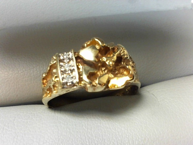 Gent's Diamond Fashion Ring 3 Diamonds .015 Carat T.W. 10K Yellow Gold 4.5g