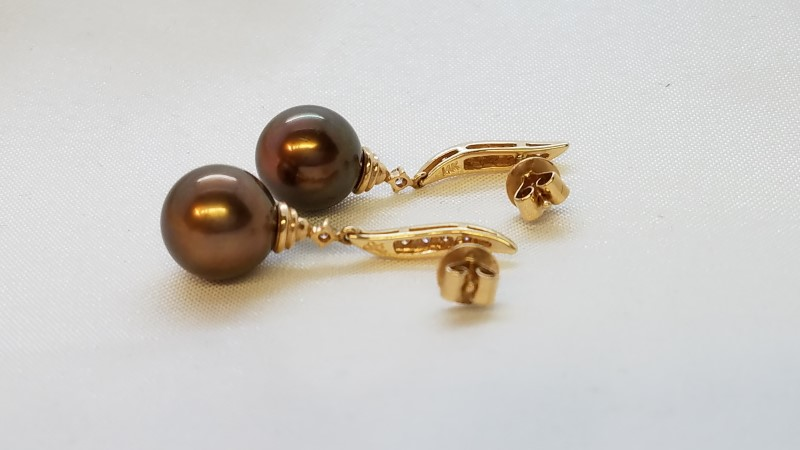 Pearl Gold-Diamond & Stone Earrings 14 Diamonds .14 Carat T.W. 14K Rose Gold