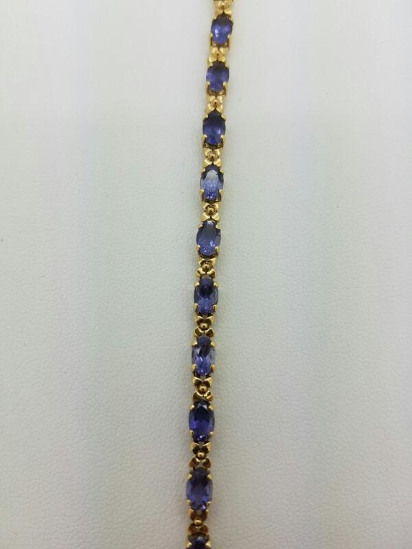 Blue Stone Gold-Stone Bracelet 14K Yellow Gold 4.9dwt