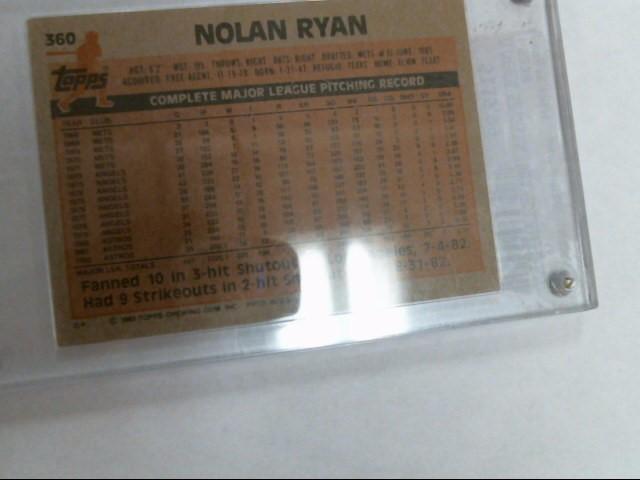TOPPS Sports Memorabilia 1983 NOLAN RYAN