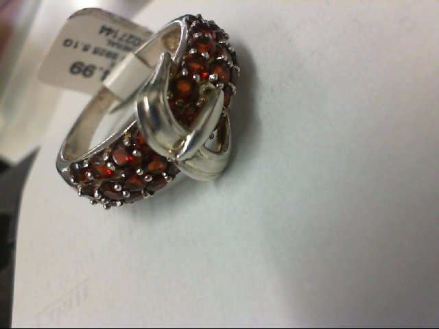 Red Stone Lady's Silver & Stone Ring 925 Silver 5.1g
