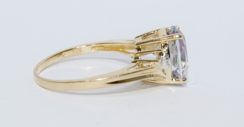 10K Yellow Gold Bypass Textured Shank Oval Mystic Topaz & Diamond Ring sz 7