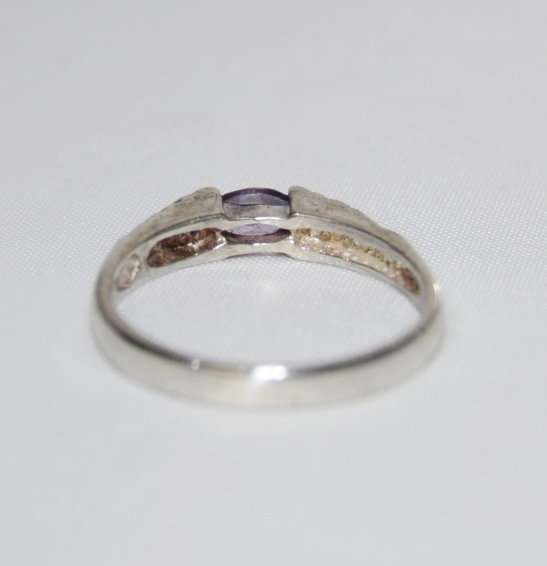Sterling Silver Vintage Inspired Cathedral Etched Marquise Amethyst Ring sz 6.5