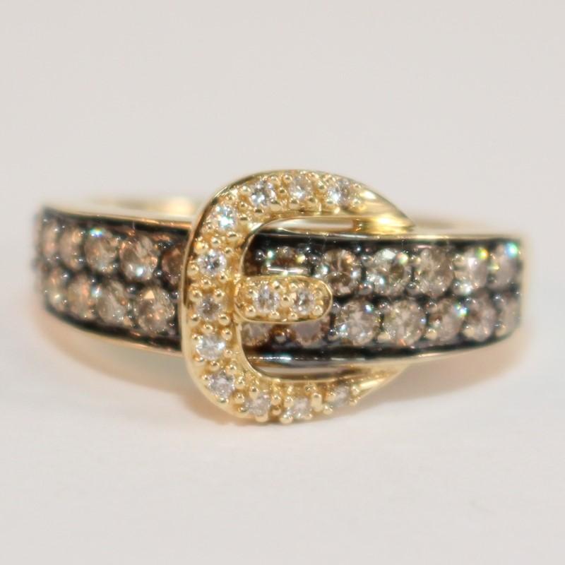 Levian 14K Gold Chocolate & Vanilla Diamond Buckle Ring Size 6.5