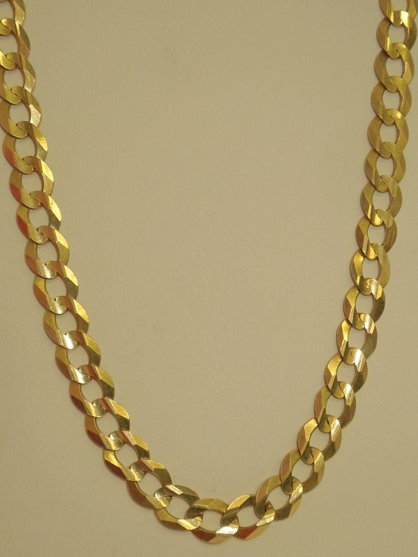 "23"" Gold Curb Chain 14K Yellow Gold 29g"