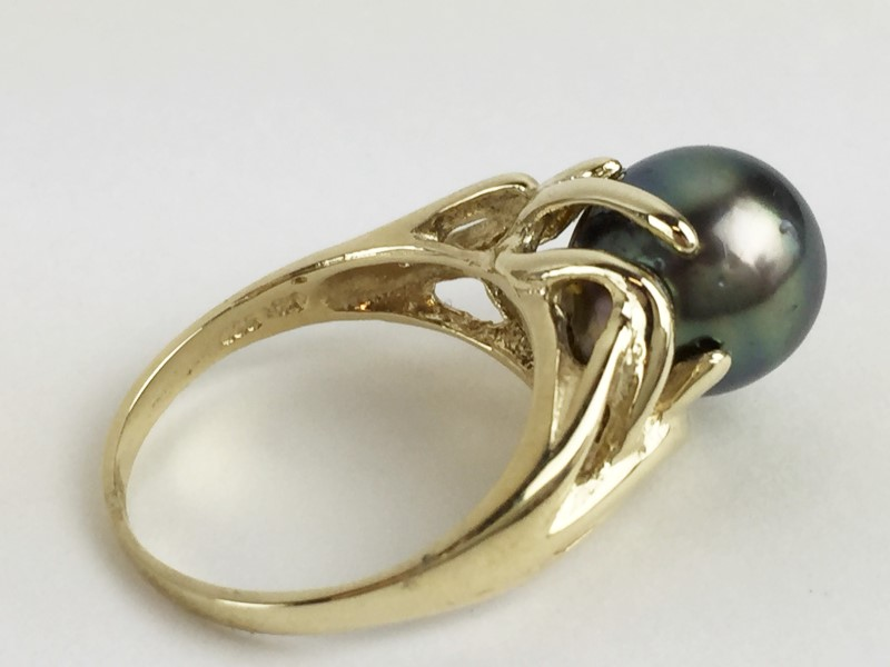 Black South Sea Pearl 14K Yellow Gold 4.87g Ring