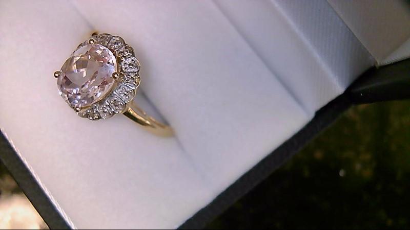 Synthetic Morganite Lady's Stone & Diamond Ring 8 Diamonds .08 Carat T.W.