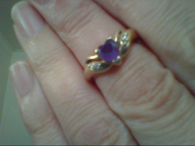 Purple Stone Lady's Stone & Diamond Ring 4 Diamonds .020 Carat T.W.