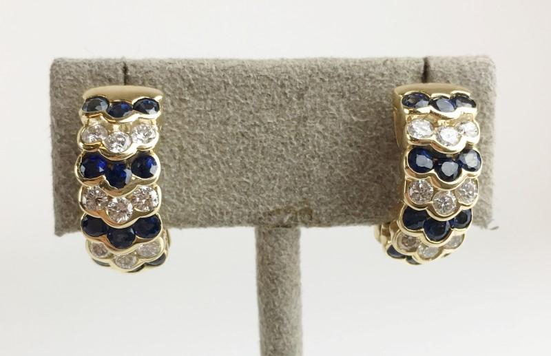 Sapphire & Diamond Earrings 18 Diamonds .90 Carat T.W.