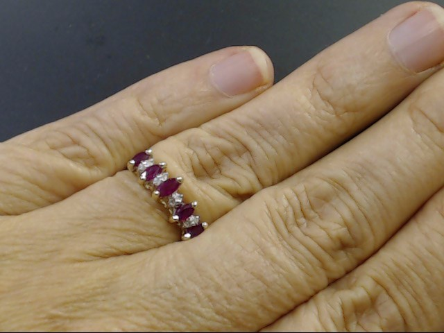 VINTAGE MARQUISE RUBY DIAMOND RING BAND SOLID 14K GOLD ANNIVERSARY