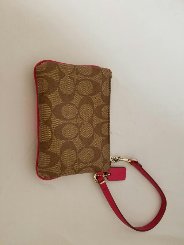 Coach Signature PVC Signature Small Wristlet Purse (Khaki & Pink Fuchsia)