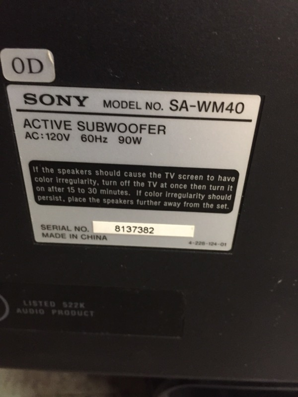 SONY Speakers/Subwoofer SA-WM40