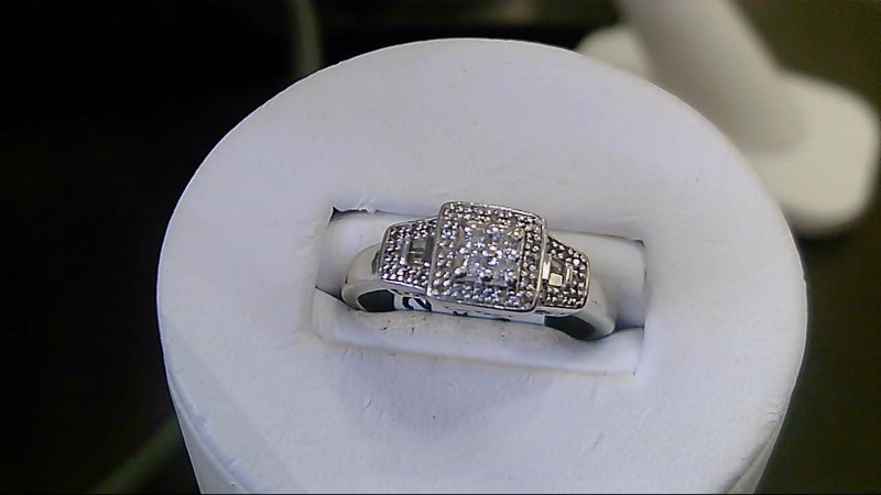 Lady's Silver-Diamond Ring 38 Diamonds .38 Carat T.W. 925 Silver 4.1g