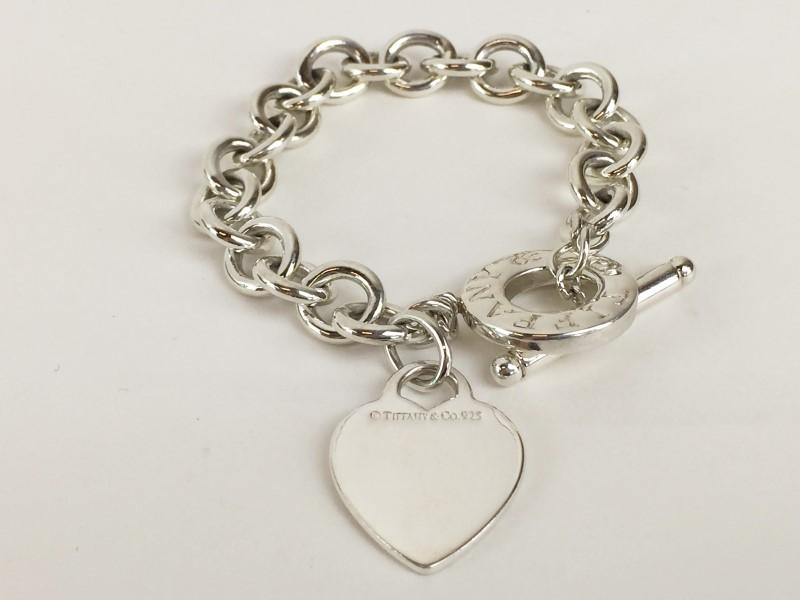 Tiffany & Co .925 Heart Link Toggle Bracelet 39.45G